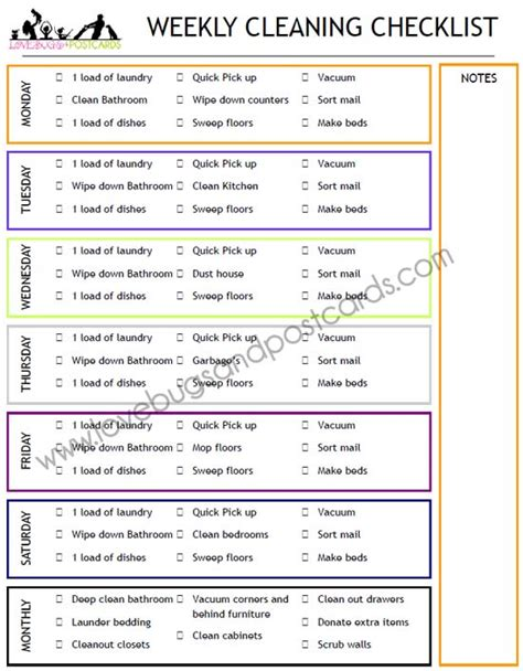 printable weekly house cleaning checklist weekly cleaning checklist printable lovebugs and postcards