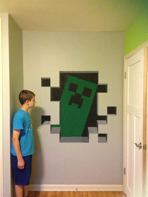 Minecraft Bedroom Paint Ideas Minecraft Creeper Painted In 3d My Projects