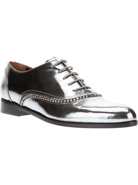 womens metallic oxford shoes lanvin embellished oxford shoe in silver metallic