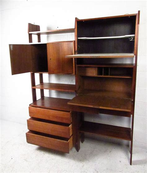 Drop Desks For On Wall by Midcentury Wall Unit With Drop Writing Desk For Sale At 1stdibs