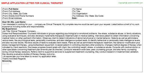 Clinical Therapist Cover Letter by Clinical Attachment Application Letters