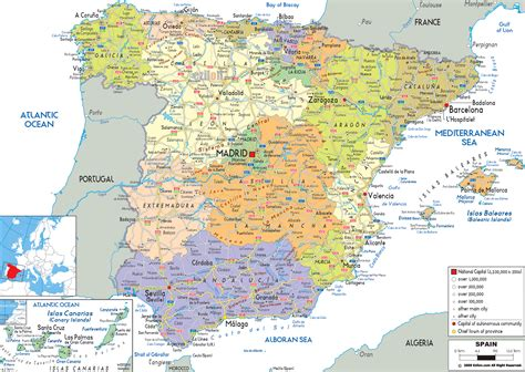 espana map political map of spain ezilon maps