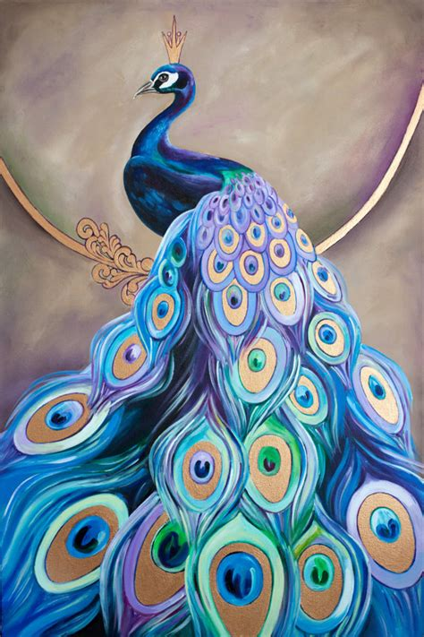 Make Your Own Wall Mural peacock painting by inna bagaeva 36 x 24 x 1 5 by juissip
