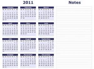 monthly calendar 2011 template