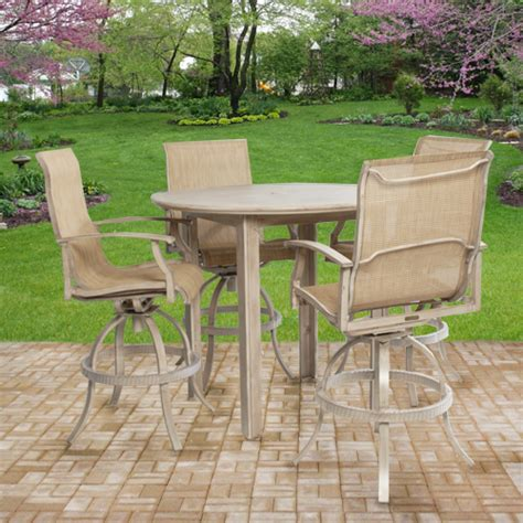 patio bar height dining set outdoor patio furniture plank bar height patio dining set