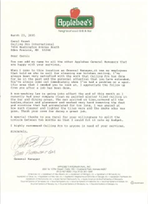 Recommendation Letter From Employer Restaurant Reference Letters