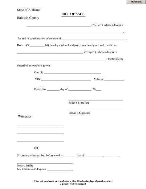 free baldwin county alabama bill of sale form pdf docx - Baldwin County Boat Bill Of Sale