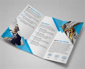 Photoshop Tri Fold Brochure Template by Free Modern Blue Tri Fold Brochure Template Psd Titanui