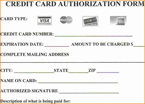 credit card size word template authorization form template exle mughals