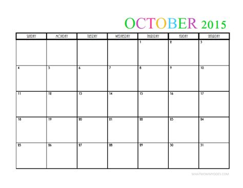 printable monthly calendar for october 2015 2015 monthly calendar templates
