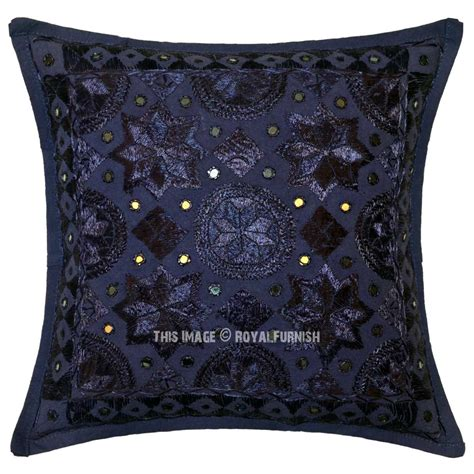 Handmade Decorative Pillows - blue decorative mirrored unique handmade throw pillow