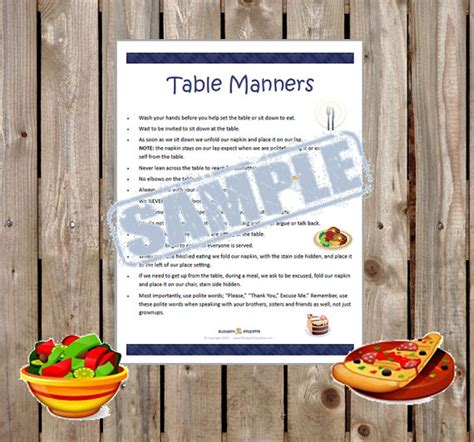 Dining Table Etiquette Pdf Printable Table Manners For All Ages Instant Pdf