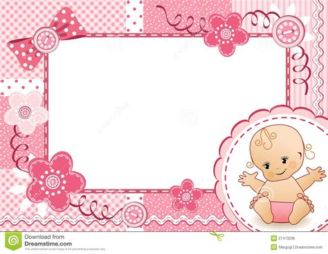 design frame baby 13 baby pink borders vector images girl baby shower