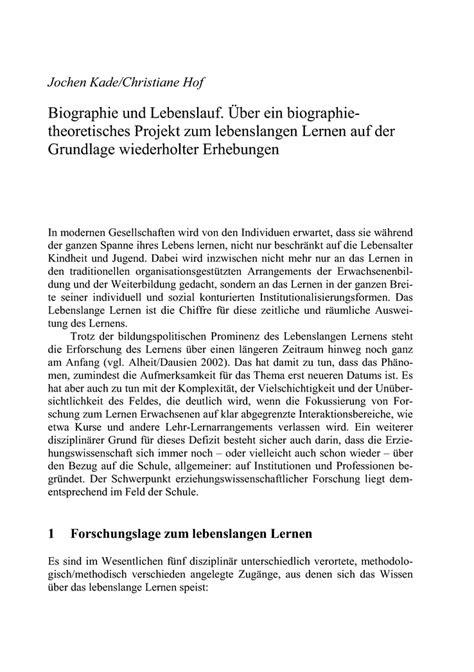 Fazit Schreiben Hausarbeit Muster Biographie Und Lebenslauf 252 Ber Ein Biographietheoretisches Projekt Zum Lebenslangen Lernen Auf