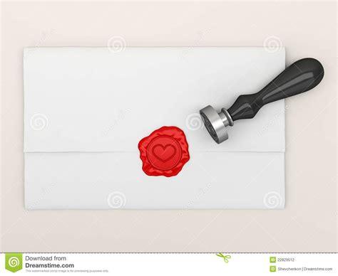 Aretro Segel Lilin de brief die door een zegel met hart wordt verzegeld