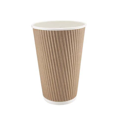 kraft cups double wall ripple coffee cups and lids 16oz kraft ripple coffee cup