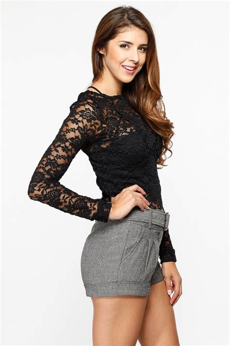 Sheer Lace Sleeve Top sheer floral lace sleeve top cicihot top shirt