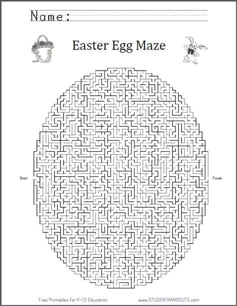 printable easter egg puzzle easter egg maze worksheet free to print pdf file