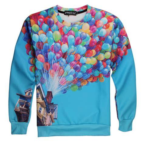 T Shirt Kaos 3d Rainbow Eye Kaos 3d Murah Bandung hip hop pop 3d rainbow balloon fly pullover sweatshirt t shirt top