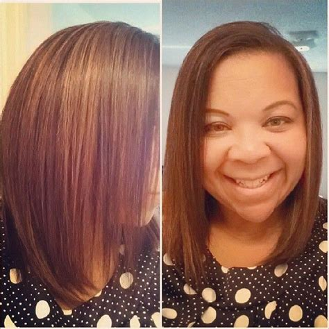 relaxer for short hair caramel highlights on semi relaxed hair she is growing