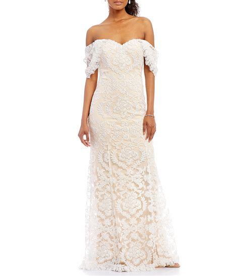 tabora off shoulder gown tadashi shoji tadashi shoji off the shoulder illusion lace gown dillards