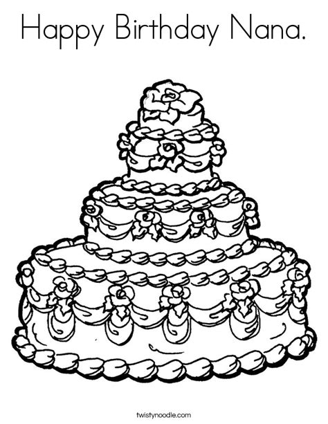 happy birthday coloring pages for nana happy birthday nana coloring page twisty noodle