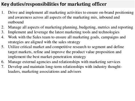 Marketing Officer Description by Marketing Officer Description