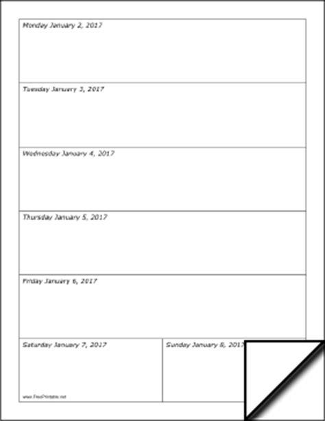 printable 2017 weekly calendar (vertical)