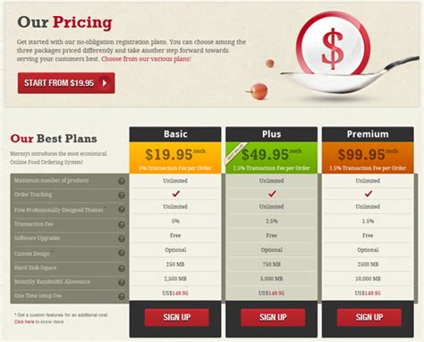 web design using tables for layout 25 exles of beautiful pricing tables webpagefx