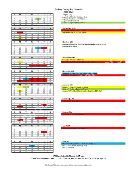 County Calendar Hickory County R I School District Skyline Schools