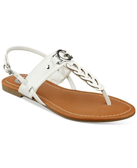 guess flat sandals g by guess lorrie t flat sandals in white save 15