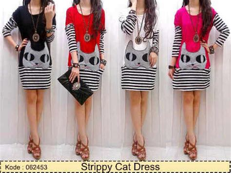dress casual strippy cat kaos salur kombi spandex midi