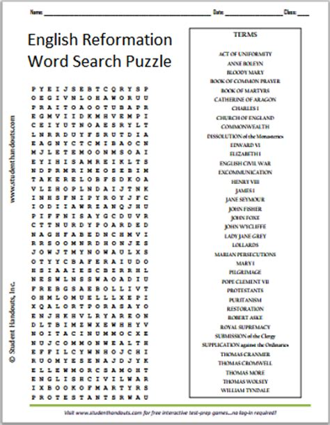 english reformation word search puzzle free to print