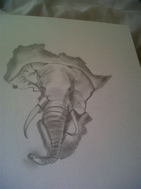 elephant head in african map tattoos ideas designs