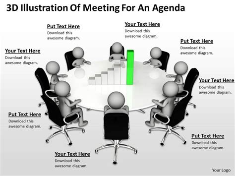 3d illustration of meeting for an agenda ppt graphics icons