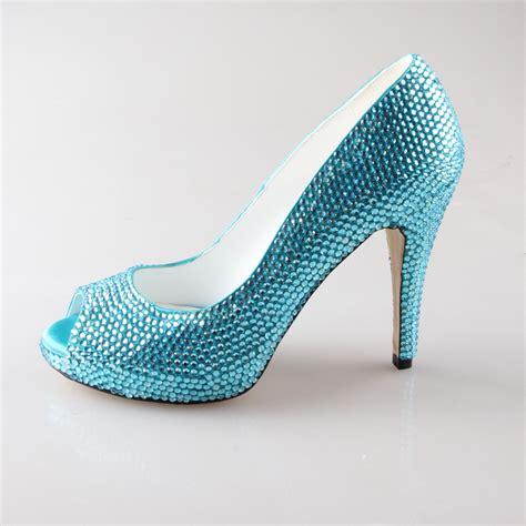 handmade aqua blue turquoise rhinestone shoes bridal