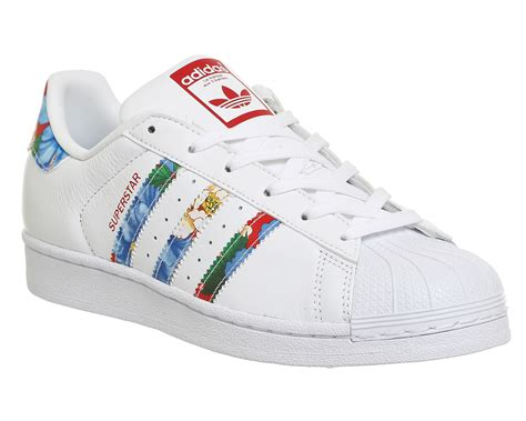 co de fiori scarpe womens adidas superstar 1 white floral trainers shoes