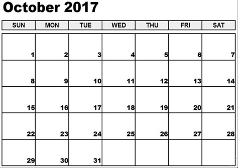 printable calendar month of october 2017 printable monthly calendar 2017 free december