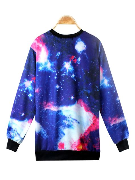 galaxy pattern t shirt women universe pattern galaxy print long sleeve loose t