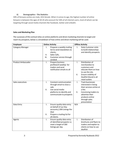 general business plan template sle business plan by kennedy nyabwala