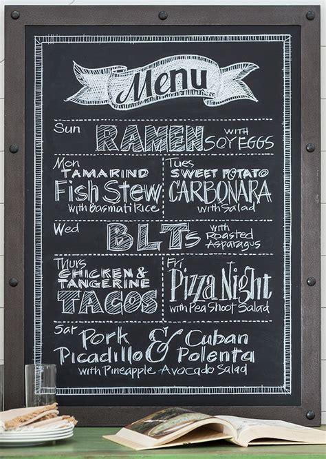 diy blackboard menuthe stylish   meal plan
