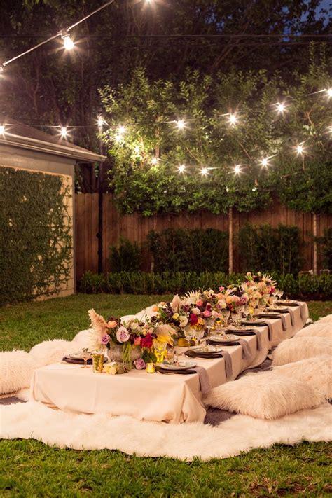 a bohemian backyard dinner outdoor decor