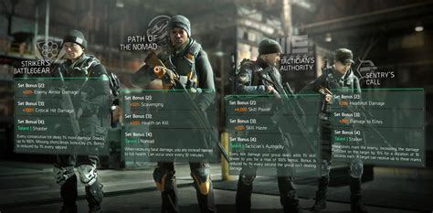 all gear gear sets items the division zone