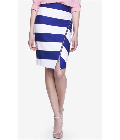 express asymmetrical striped pencil skirt with zipper in
