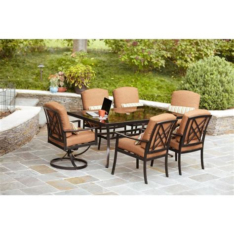 Hton Bay Cedarvale 7 Piece Patio Dining Set With Nutmeg 7 Patio Dining Set