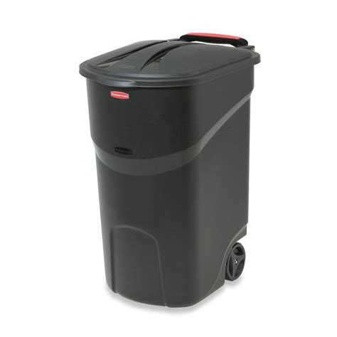 Small Trash Can Home Depot Rubbermaid Roughneck 45 Gal Black Wheeled Trash Can With