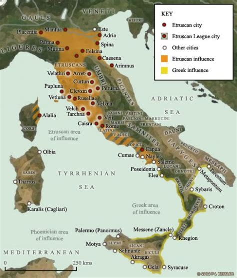 etruria ostia map of etruscan and influence in italy illustration