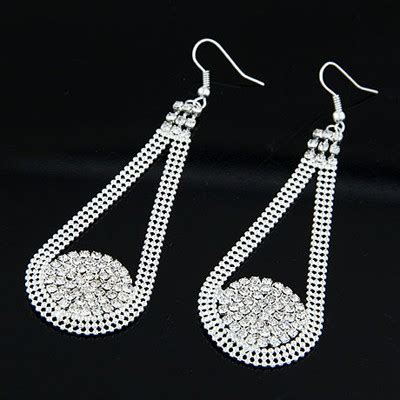 Set Kalung Anting Hollow Out Water Drop Pattern Design birthing silver color drill decorated water drop shape design alloy korean earrings asujewelry