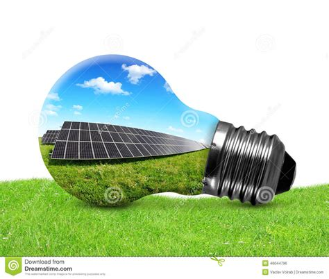 Solar Panels In Light Bulb Stock Photo Image 46044796 Solar Panel Light Bulb