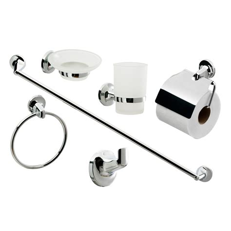 Bathroom Commode Accessories Modern 6 Bathroom Accessory Set At Plumbing Uk